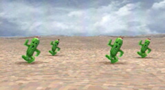 A group of cheerful cactuars in their natural habitat.